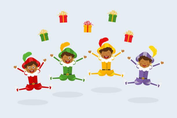 stockillustraties, clipart, cartoons en iconen met viering van sinterklaas- of sinterklaasdag met vrolijke nederlandse traditionele folklorekinderen zwarte piet - cadeau sinterklaas