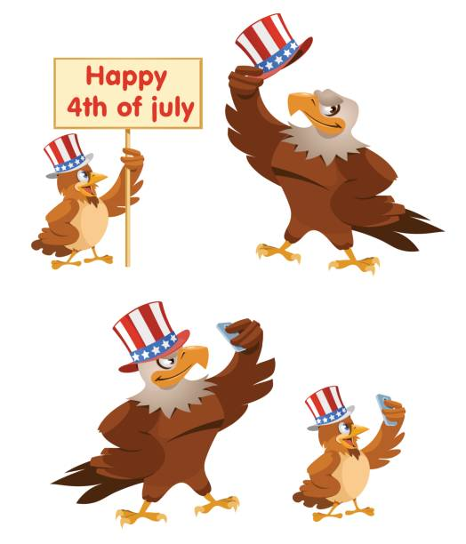 celebration of the fourth of july. an american eagle and a sparrow in the patriotic hats making selfie. - eagle character stock illustrations, clip art, cartoons, & icons