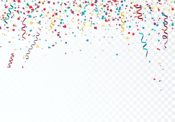 stockillustraties, clipart, cartoons en iconen met feest of festival kleurrijke achtergrond sjabloon met vallende papier confetti en linten. vector illustratie geïsoleerd op transparante achtergrond - confetti