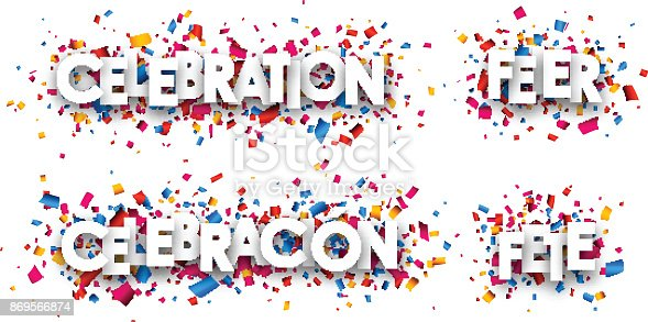 istock Celebration paper banners. 869566874