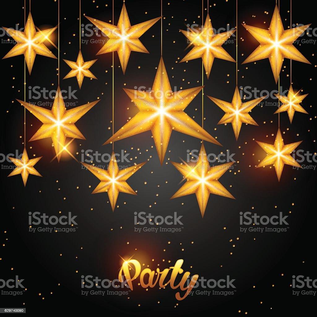 celebration party background with starsornament greeting invitation