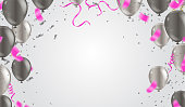 istock Celebration party banner with  balloons grey and serpentine 1332402855