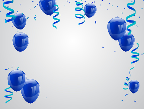 Celebration party banner with Blue balloons isolated on white background. confetti and ribbons. Vector illustration