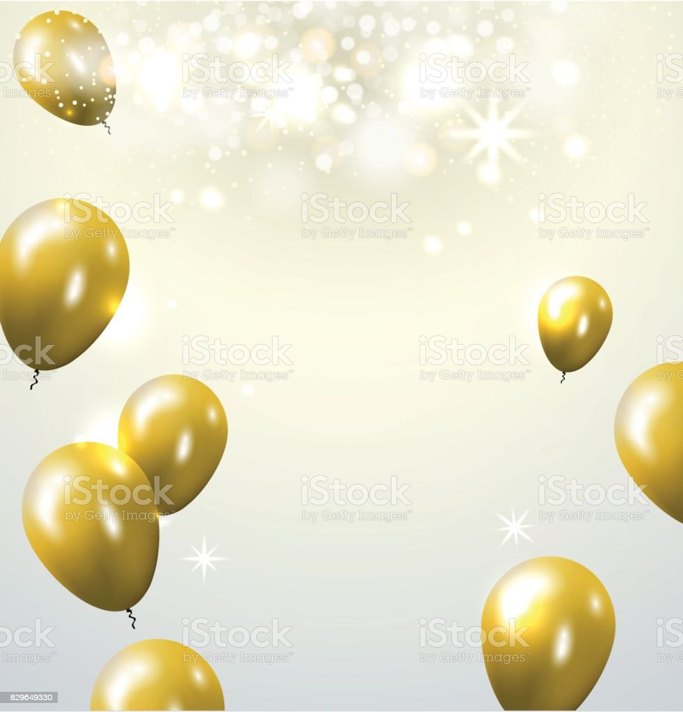 Celebration party banner with golden balloons and serpentine. Greeting, invitation card or flyer. vector art illustration