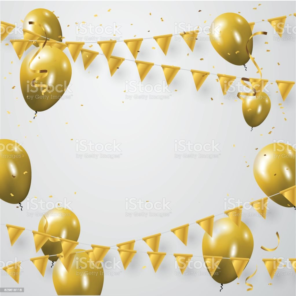 Celebration party banner with golden balloons and serpentine. vector art illustration