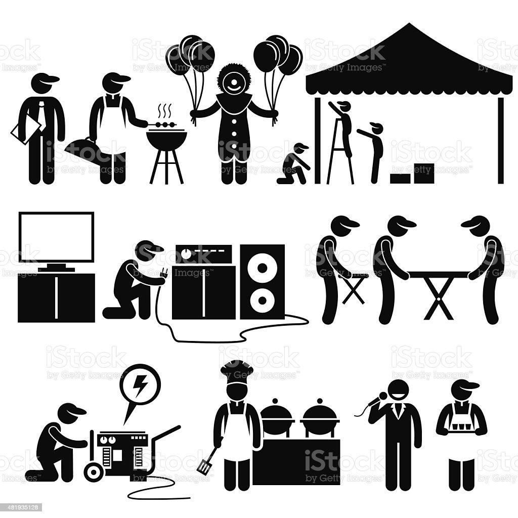 Celebration Party Festival Event Services Stick Figure Pictogram Icons vector art illustration