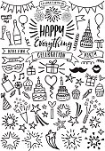 Celebration, party, birthday, Valentine's day doodle, set of vector graphic design elements