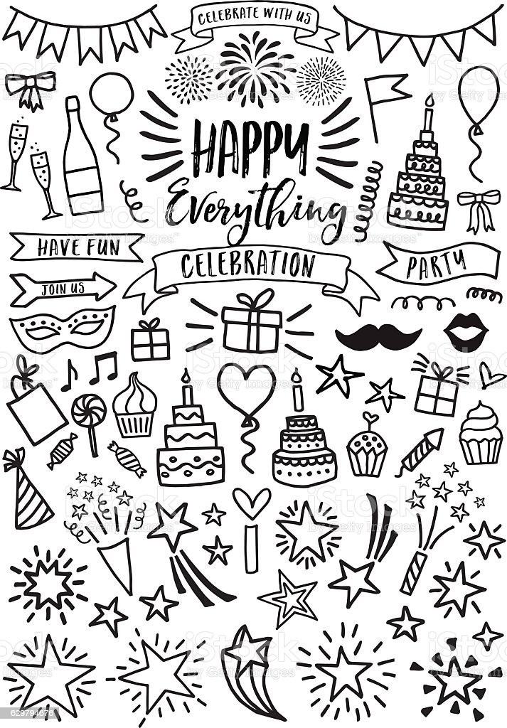 Celebration, party, vector set vector art illustration