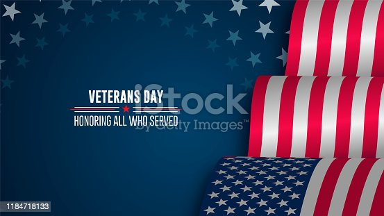 istock Celebration poster with stars and stripes. Happy Veterans day 1184718133