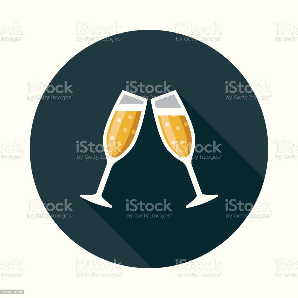 Social Media Feier flache Design-Ikone mit Seite Schatten - Lizenzfrei Alkoholisches Getränk Vektorgrafik