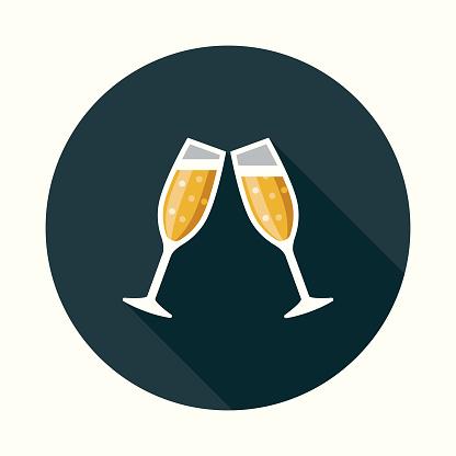 Social Media Feier Flache Designikone Mit Seite Schatten Stock Vektor Art und mehr Bilder von Alkoholisches Getränk