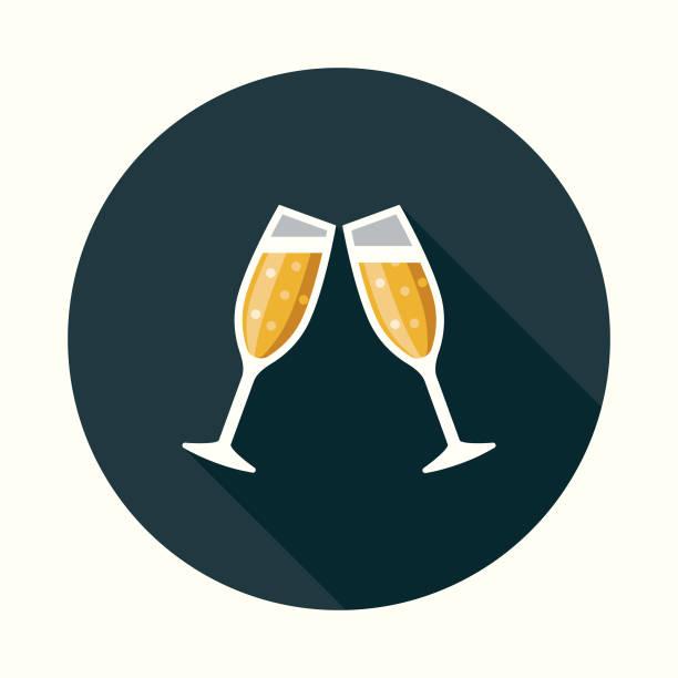 social media feier flache design-ikone mit seite schatten - einen toast ausbringen stock-grafiken, -clipart, -cartoons und -symbole