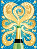 Champagne bottle with a groovy abstract background.