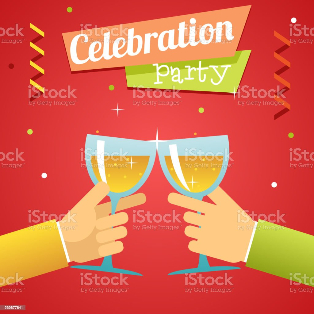 Celebration Success Prosperity Invitation Announcement Concept Symbol Hands Holds Glasses vector art illustration