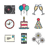 A set of 25 color thin line celebration and party icons. File is built in the CMYK color space for optimal printing, and can easily be converted to RGB. Color swatches are global for quick and easy color changes throughout the entire set of icons.