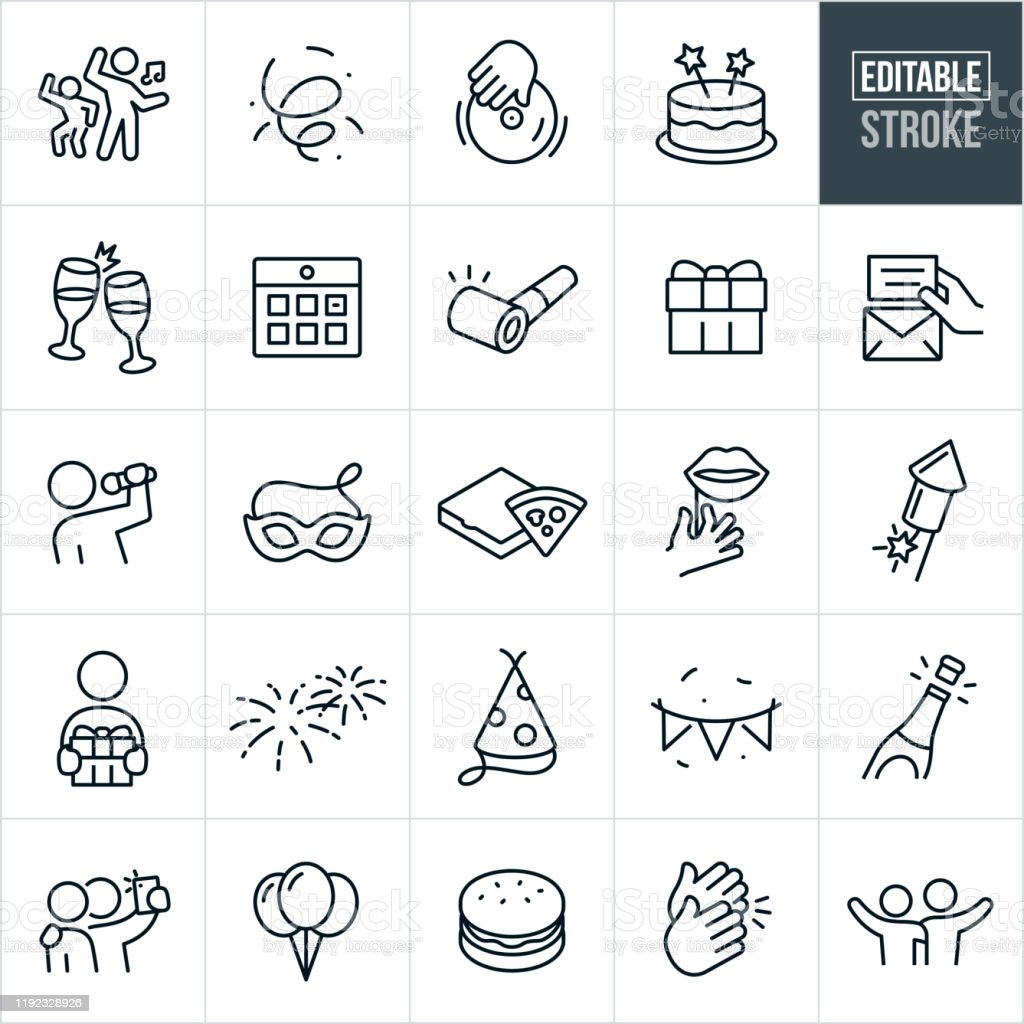 Celebration Thin Line Icons - Ediatable Stroke A set of celebration icons that include editable strokes or outlines using the EPS vector file. The icons include confetti, party goers dancing, dj, cake, champagne toast, calendar, party horn, gift, invitation, singer, entertainment, party mask, pizza, props, fireworks, party hat, party banner, champagne, balloons, clapping, friends taking pictures, and friends with their arms around each other to name just a few. Arm Around stock vector