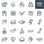 A set of celebration icons that include editable strokes or outlines using the EPS vector file. The icons include confetti, party goers dancing, dj, cake, champagne toast, calendar, party horn, gift, invitation, singer, entertainment, party mask, pizza, props, fireworks, party hat, party banner, champagne, balloons, clapping, friends taking pictures, and friends with their arms around each other to name just a few.