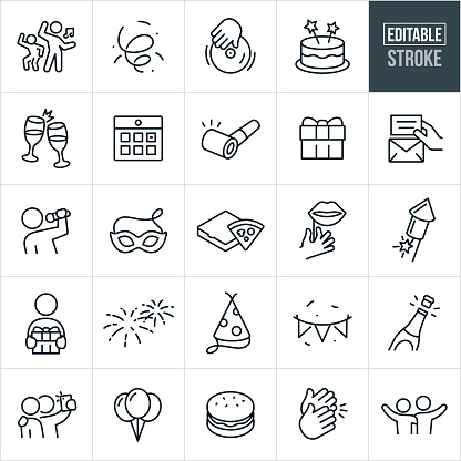 Celebration Thin Line Icons Ediatable Stroke Stock Illustration - Download Image Now