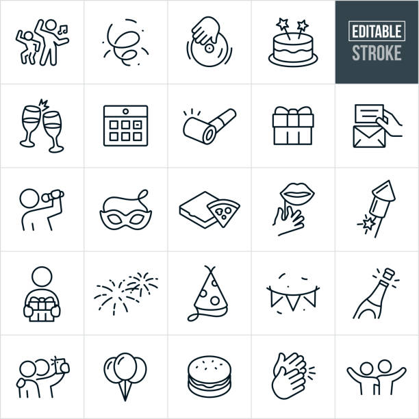 Celebration Thin Line Icons - Ediatable Stroke A set of celebration icons that include editable strokes or outlines using the EPS vector file. The icons include confetti, party goers dancing, dj, cake, champagne toast, calendar, party horn, gift, invitation, singer, entertainment, party mask, pizza, props, fireworks, party hat, party banner, champagne, balloons, clapping, friends taking pictures, and friends with their arms around each other to name just a few. excited stock illustrations