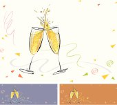 Pair of champagne flutes making a sparkling, splashy toast. The background is decorated with confetti and ribbons. This illustration can easily be used with different colored backgrounds. Two versions of compositions/orientations/backgrounds are included in the file as shown in the thumbnail image. In vogue now, this free-hand pen sketch can also lend itself well for fusion with photographic/raster images to create new, trendy graphic designs.