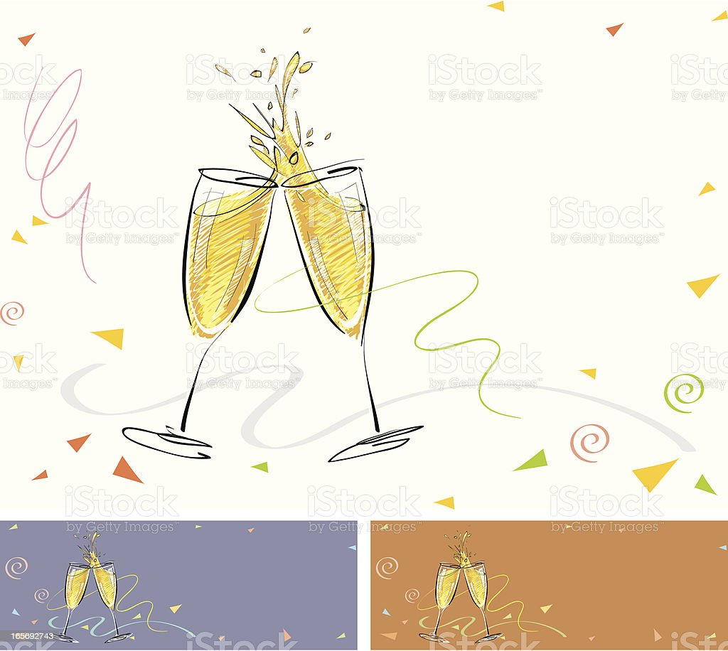 Celebration toast with champagne vector art illustration