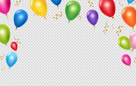 Celebration vector background template. Realistic balloons and ribbons banner design