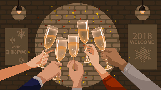 Champagne toast stock illustrations