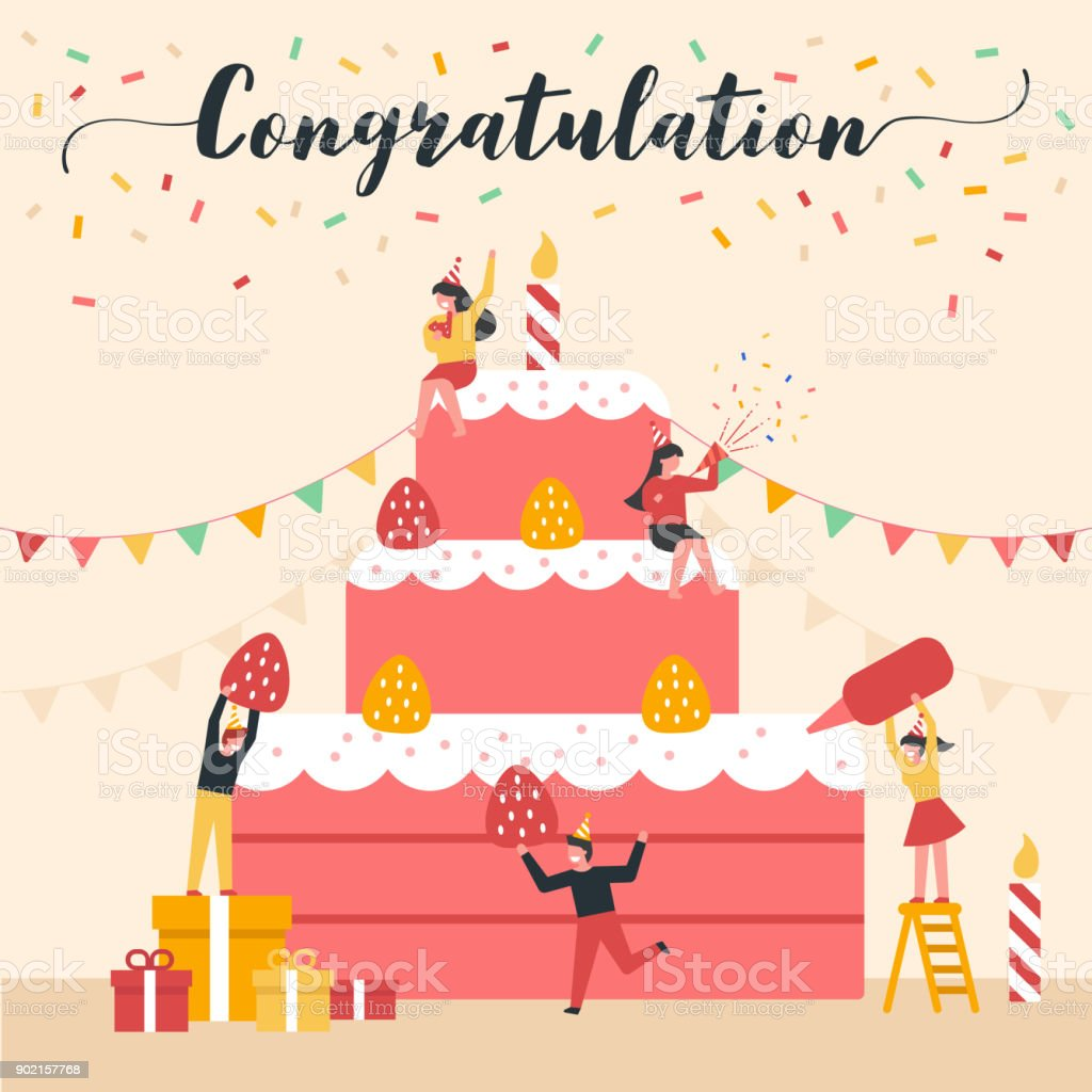 Celebration Vector Illustration With Flat Design Concept Included
