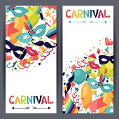 Celebration vertical banners with carnival icons and objects.