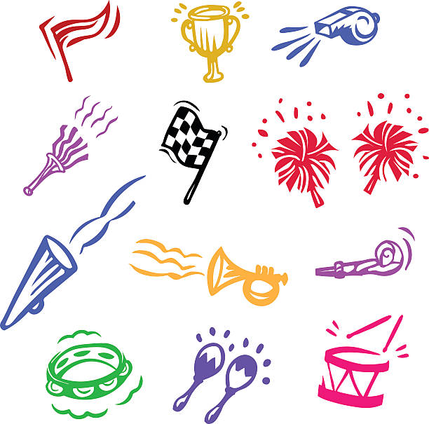 stockillustraties, clipart, cartoons en iconen met celebration, victory, noise - blaasinstrument