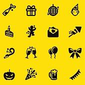 Celebration Yellow Silhouette icons