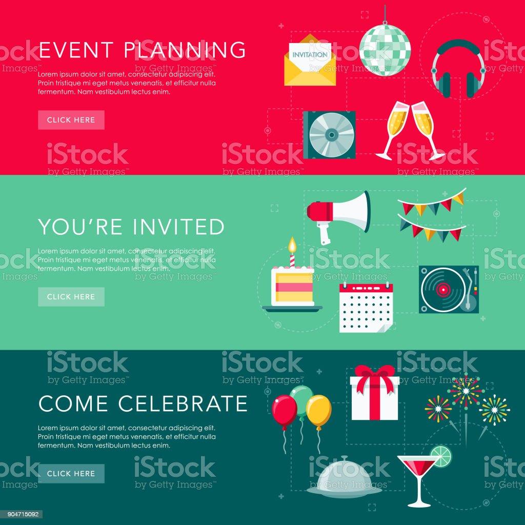 Establecer celebraciones plana Diseño Web Banners - ilustración de arte vectorial