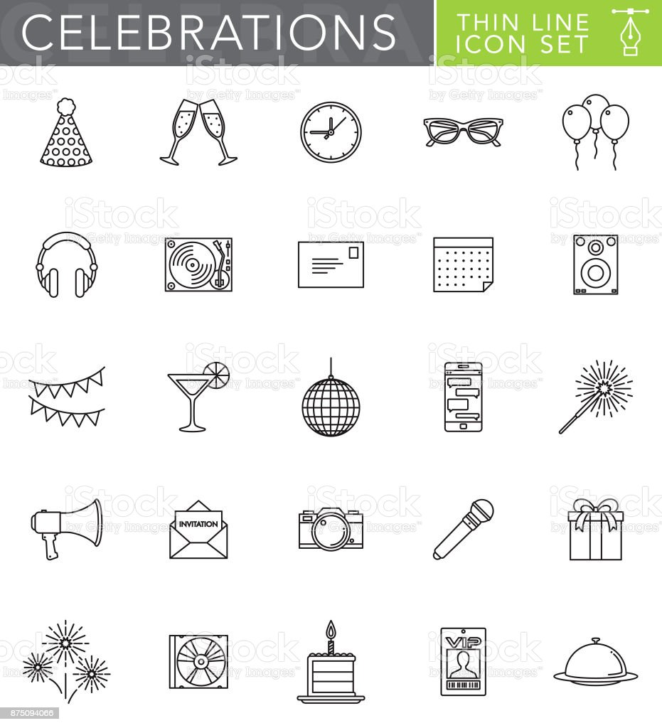 Celebrations & Parties Thin Line Icon Set in Flat Design Style