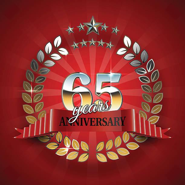 Celebrative Golden Frame for 65th Anniversary. vector art illustration