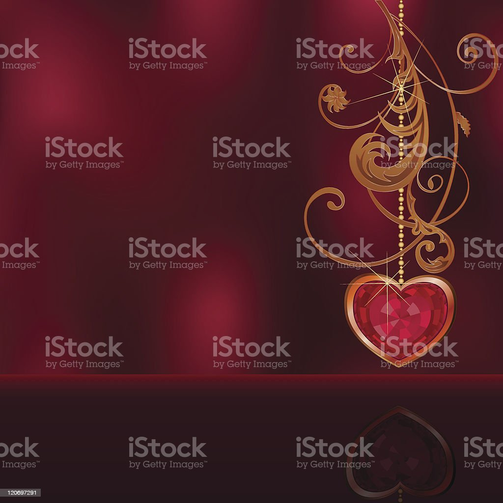 Celebratory background with jeweler ruby heart and floral ornament royalty-free stock vector art