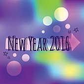 Celebratory bright background for Christmas and New Year. New 2016. Greeting card. Happy new year 2016 Text Design. Hand drawing. New Year, Merry Christmas 2016. Bright multi-colored blur background.