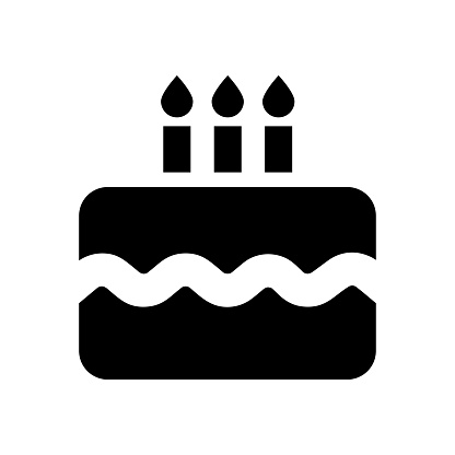 Celebratory cake with candles. Cake icon Birthday cake. Happiness icon. Food concept. Vector icon.