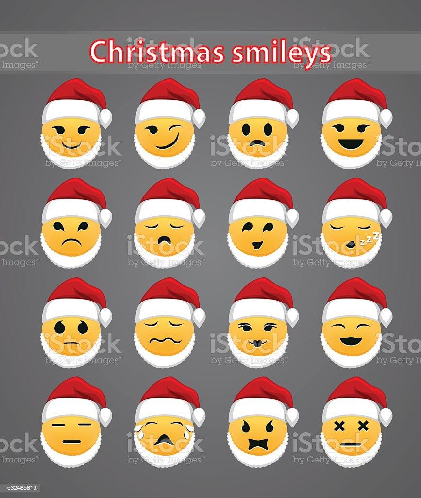 celebratory Christmas smileys vector art illustration