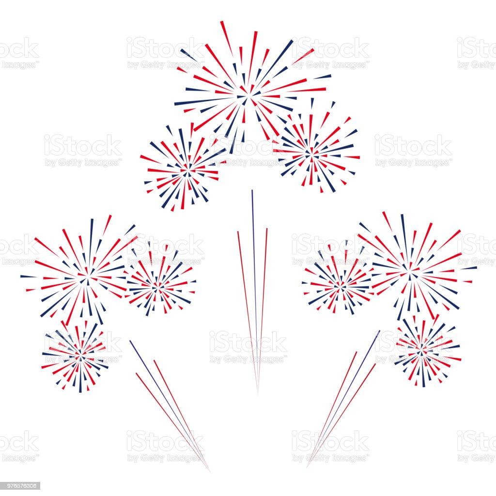Celebratory fireworks on a white background. Vector illustration. Celebratory fireworks on a white background. Vector illustration Abstract stock vector