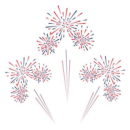 Celebratory Fireworks On A White Background Vector Illustration Stock Illustration - Download Image Now