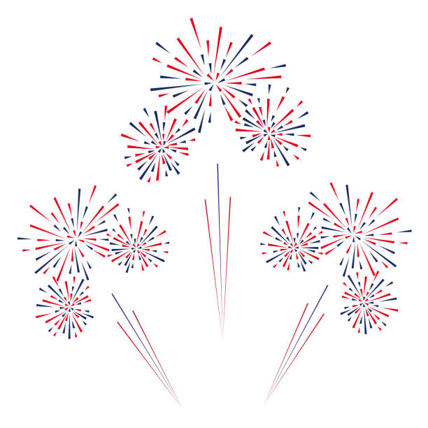 celebratory fireworks on a white background. vector illustration. - fireworks stock illustrations