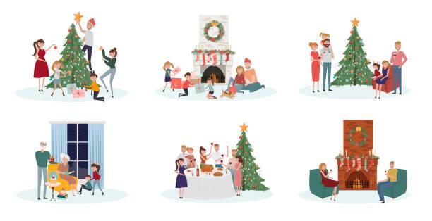 illustrazioni stock, clip art, cartoni animati e icone di tendenza di celebratory scenes with people of different ages preparing for the holiday - christmas table