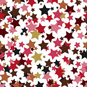 Celebratory seamless background of randomly distributed stars  various sizes and
