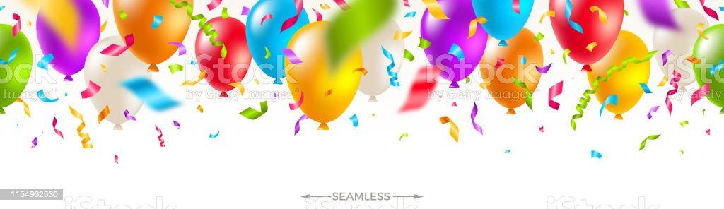 Celebratory seamless banner - multicolored balloons and  confetti. Vector festive illustration. Holiday design. - Royalty-free Aniversário especial arte vetorial