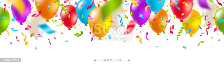 Celebratory seamless banner - multicolored balloons and  confetti. Vector festive illustration. Holiday design.