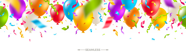 Celebratory seamless banner - multicolored balloons and  confetti. Vector festive illustration. Holiday design.