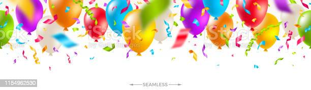 Celebratory Seamless Banner Multicolored Balloons And Confetti Vector Festive Illustration Holiday Design Stock Illustration - Download Image Now
