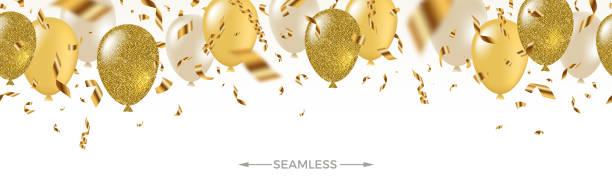 feierndes, nahtloses banner-weiß, gelb, glitzernd goldene luftballons und goldene folie konfetti. vector fesche illustration. urlaubsdesign. - ballon stock-grafiken, -clipart, -cartoons und -symbole