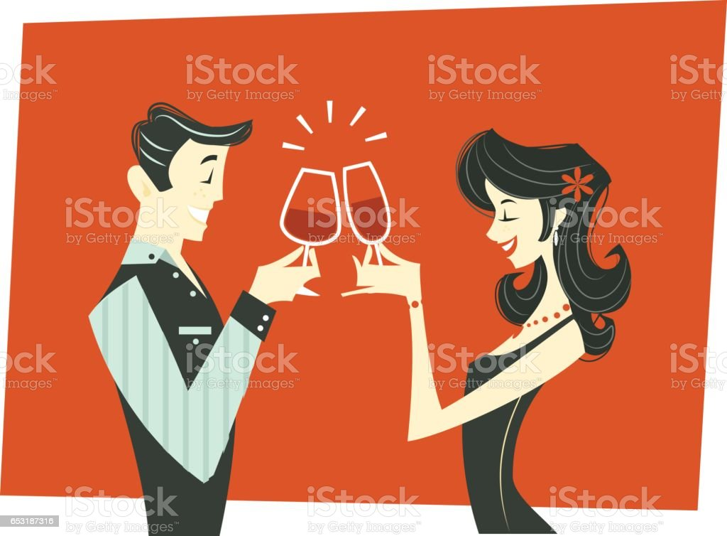 Celebratory Toast Couple - illustration - illustrazione arte vettoriale