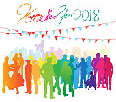 New Years celebration illustration in bright colors with large crowd of people